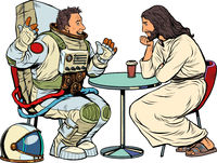Jesus Christ is talking to a male astronaut. Christianity and religion, preaching