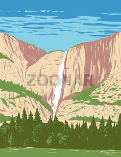 Yosemite Falls in Yosemite National Park Located in the Sierra Nevada of California WPA Poster Art