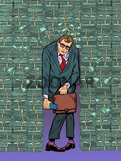 A businessman in money. Financial pressure and depression. A rich man