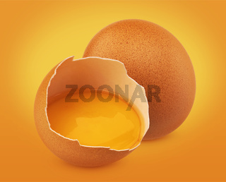 Fresh Chicken eggs isolated on yellow background