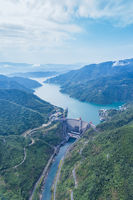 aerial view of small hydroelectric station landscape