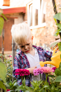 The toddler is watering flowers in the garden using a watering can