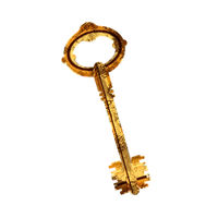 Old antique glossy door key with rust on white