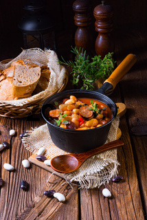 Delicious bean stew with sausage and potato