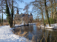Winter am Wasserschloss im Münsterland