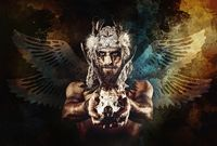 beautiful shamanic man with headband and deer skull.