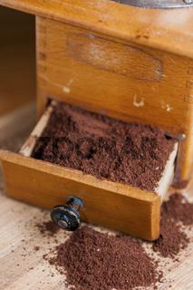 Coffee grinder with coffee powder vertical