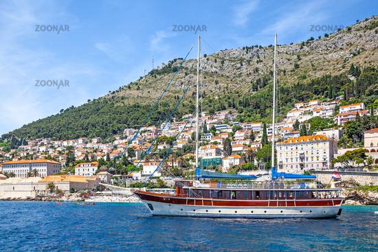 Touristic ship by the shore in Dubrovnik in Croatia