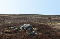 pennine moorland landscape with large old boulders and stones on midgley moor in west yorkshire