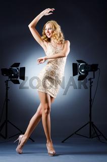 Attractive woman in studio shooting
