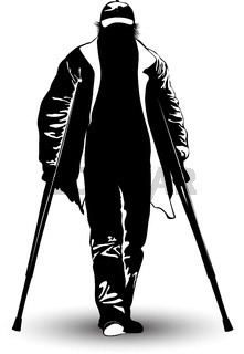 Black and white image of an elderly man on crutches
