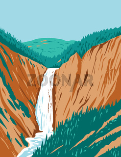 Lower Yellowstone Falls Within Yellowstone National Park Located in Wyoming USA WPA Poster Art
