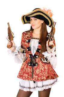 attractive woman with guns dressed as pirates