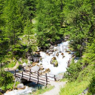 Bridge on mountain river