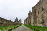 view of the historic medieval walled city of Carcassonne in France