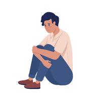Sad lonely teenager boy semi flat color vector character