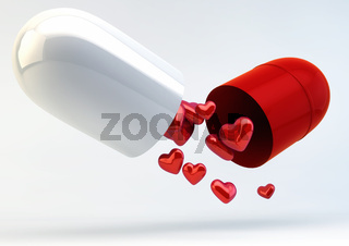 Multiple Hearts inside Capsule Pill - Love Medicine