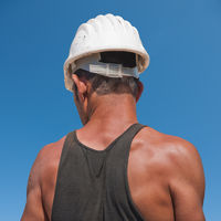 Back of construction worker