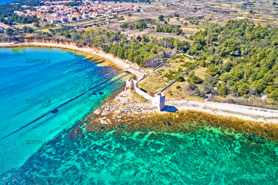 Island of Vir waterfront and fortress ruins aerial view