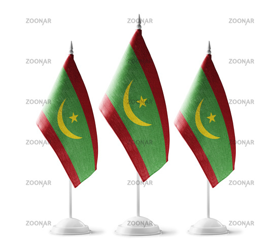 Small national flags of the Mauritania on a white background