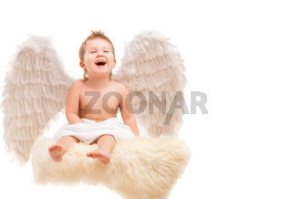 Infant baby with angel wings