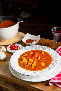 Delicious Hungarian-style goulash soup