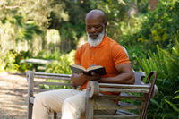 Senior african american man spending time at home