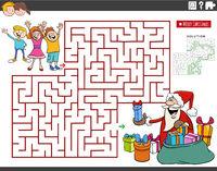 maze game with cartoon Santa Claus and children