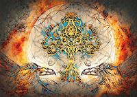 pair of ravens with tree of life and sacred geometry flower of life symbol, space background.