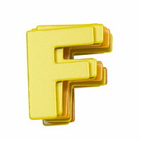 Yellow font Letter F 3D