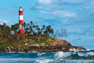 Lighthouse.  and sea. Kovalam (Vizhinjam) Kerala