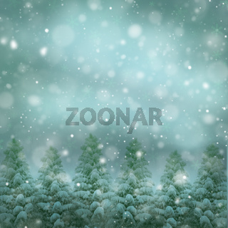 Fir trees in the forest - beautiful snowy christmas holidays background