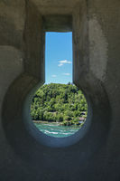 View through window in a fortress. Switzerland