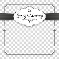 Cross White Obituary Frame Emblem Ribbon In Memory Transparent