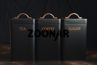 Set of 3 Storage Tins for housing teas, coffee and sugar. Set of three Storage Jars