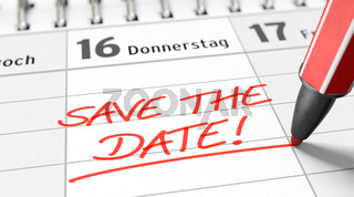 Write 'SAVE THE DATE' in the diary