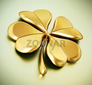 Golden four leaf clover on green background. 3D illustration
