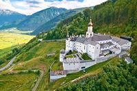 Abbey of Monte Maria in Alpine village of Burgeis view