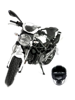 A motorcycle isolated against a white background