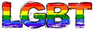 Word LGBT with rainbow pride flag under it, distressed grunge look.