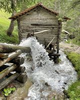 water rushing by wooden cabin in the woods