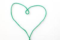 Green cord heart