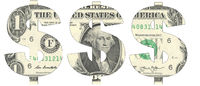 Stencil of the USD symbol on one-dollar bill