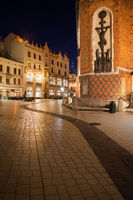Mariacki Square in Old Town of Krakow at Night