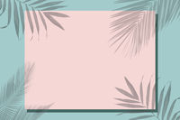 On a green background, a pink frame for text covered with a shadow from tropical leaves.