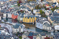 View over the rooftops of Alesund in Norway