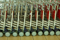 Close up view of trolleys luggage