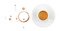 Coffee cup, stains and drops on white background