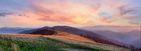 Autumn sunset mountain panorama (Carpathian, Ukraine).