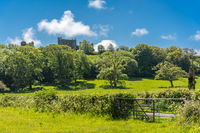 View of a castle, green trees, and fields in the countryside of Wales